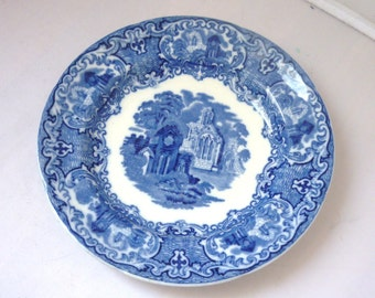 Antique George Jones Flow Blue Abbey plate 7.5'