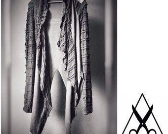 Black  Postapocalyptic Asymmetric hoodie / shrug