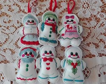 set of 6 white gingerbread men