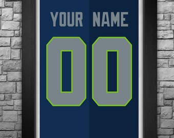 SEATTLE SEAHAWKS custom jersey art print. Any name and number! Choose from 3 sizes!