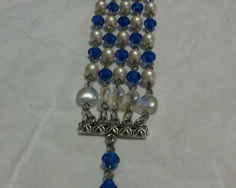 Cobalt Blue and Pearl Miraculous Rosary Bracelet