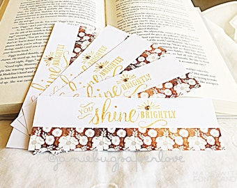Shine Bright Bookmark with embellishment, page marker, divider