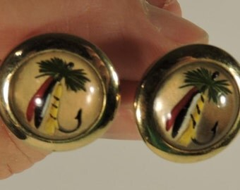 Cuff Links Fishing Lure Dome Vintage