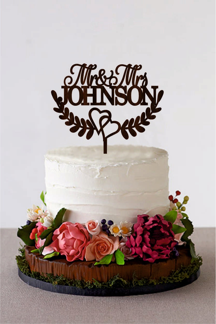 Mr And Mrs Wedding Cake Topper Last Name Custom Rustic Personalized Gold Silver