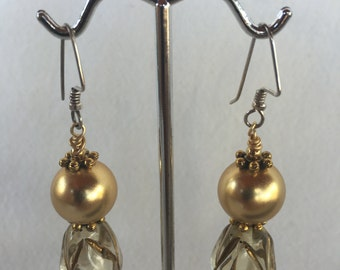 Lucite and Vintage Gold Earrings