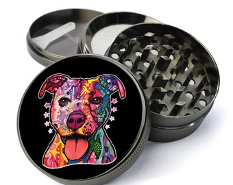 Pitbull Rainbow Psychedelic Dog Extra Large 5 Piece Spice Tobacco Herb Grinder with Pollen/Keef Catcher - Top Weed Grinders For Sale