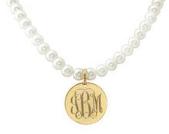 Engraved Gold Pearl Neckalce