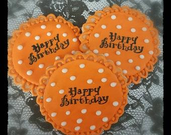 Happy birthday cookies.  One dozen