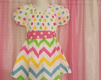 Multi Colored Dress with Chevron and Polka Dot Pattern