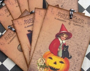 Vintage Halloween Gift Tags/Halloween Gift Tags/Halloween Favor and Treat Bags Tags/Retro Style Halloween Post Card Tags/Set of 8