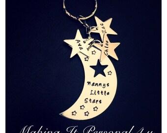 Personalised moon & stars keyring