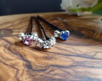 Triple Diamante Hair Pins, set of 5