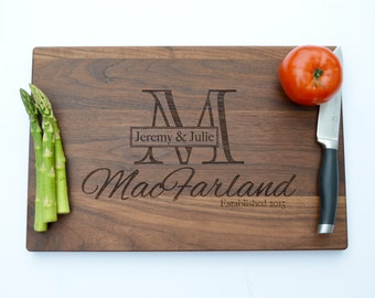 Custom Wedding Gift, Engraved Cutting Board, Gift for Bride, Gift for Parents, Bridal Shower Gift, Personalized Gift for Couple, Monogram