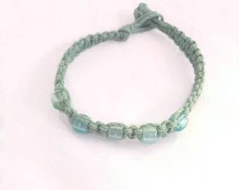 Green Natural Hemp Macrame Vegan beaded bracelet