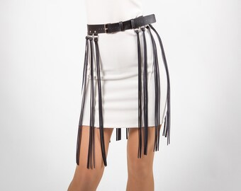 Harness belt with fringe Skirt Leather fringe skirt Black fringe skirt Long fringe belt Long skirt with fringe cuir Fringe leather skirt