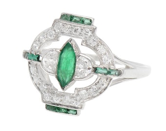 MARKED DOWN! Art Deco Platinum Emerald & Diamond Ring | Diamond Emerald Engagement Ring Vintage || 17437