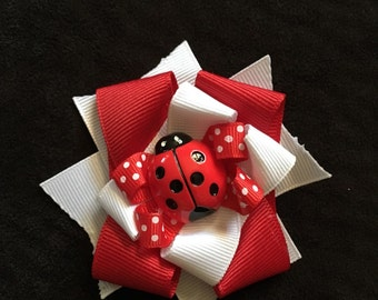 Baby girl lady bug hair clip