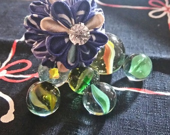 Floral Print Flower Orb Hairpin / Tzumami Kanzashi Hairpin / Fabric art / Textile Art / Textile Flower Orb / Geisha Inspired hairpin