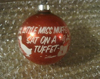 Rare Shiny-Brite nursery rhyme Little Miss Muffet Vintage Christmas Ornament