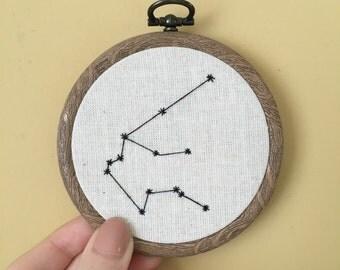 Aquarius Zodiac hoop