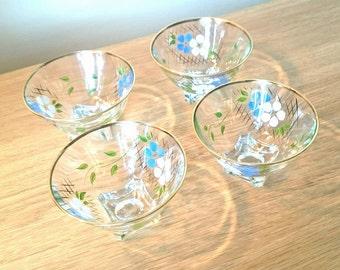1950's Vintage Floral Glass Bowl Desert Dishes Hand Painted  Retro Floral Design