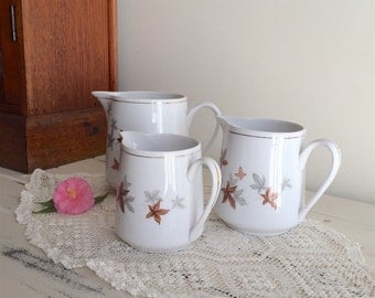 Set of THREE China Jugs, Pitcher, Creamer