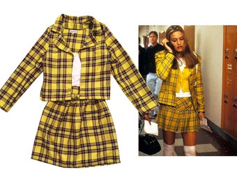 SALE Cher's Clueless Outfit Yellow Tartan Plaid Fancy Dress Adult Costume skate skirt woman costume halloween