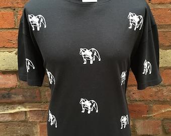 British Bulldog Pattern Black T-Shirt
