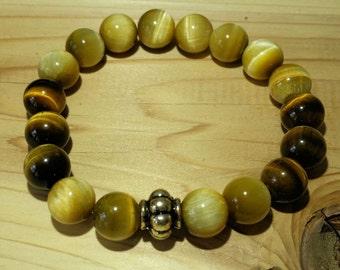 Men's Honey Tiger Eye and Brown Tiger Eye Bracelet