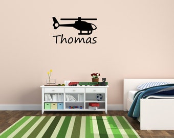 Name and helicopter vinyl wall decal