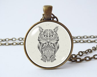 Owl necklace Pendant grey owl Bird jewelry Owl jewelry Owl charm Birthday gift Owl pendant Photo pendant Owl accessories Owl lovers gift