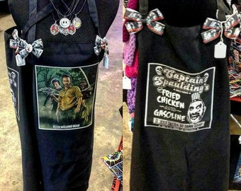 Custom made Aprons Black  your text any wording  photo recipes funny sayings