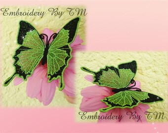 Lace butterfly green-FSL-4x4 hoop