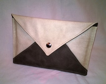 Clutch evening ivory and Taupe (marble pattern) - the Epistolaire