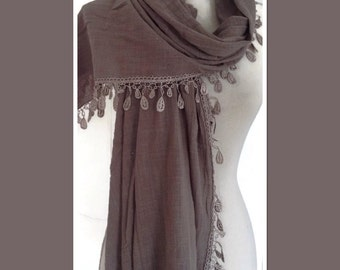 Grey Cotton Lace Style Pashmina Wrap Shawl Scarf Gift Idea