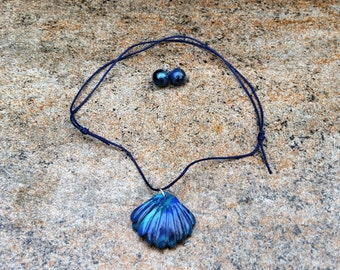 Polymer Clay Faux Abalone Shell Necklace Set