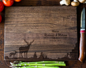 Custom Cutting Board, Personalized Cutting Board, Monogram, Deer Wedding Gift, Anniversary, Bridal Shower Gift, Kitchen Decor #3048