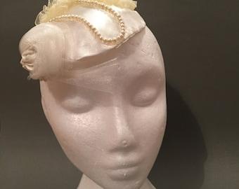 Silk Bridal Fascinator with Pearls