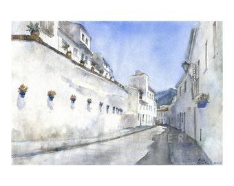 Mijas III -watercolour print, architecture