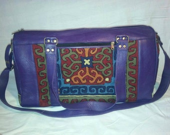 Leather Embroidered Travel Bag