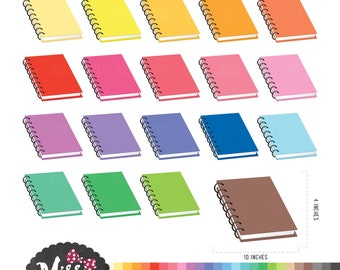 30 Colors Notebook Clipart - Instant Download