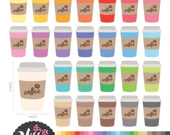 26 Colors Coffee Cup Clipart - Instant Download
