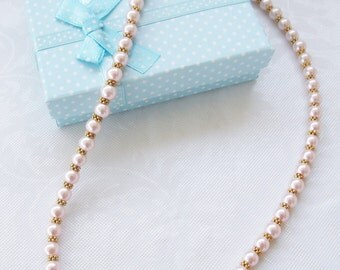 Classic Swarovski®  Pearls-Pink Pearls-Gold Spacers-Matching Bracelet-Wedding Jewelry-Bridesmaid Jewelry-Birthday Gift-Necklace Set