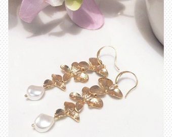 Bridal earrings bridesmaid 14j gold plated earrings crystal earrings Swarovski pearl clear wedding bride bridesmaid dangle drop earrings