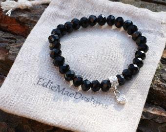 Ladies Bracelet, Elegant Black, 8mm Glass Beaded, Stretchy Bracelet,  Beaded Bracelet