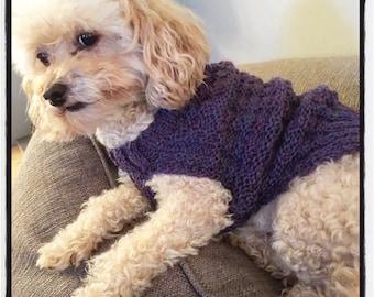 Basketweave handknit doggie sweater
