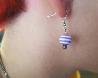 Pastel bead hook earrings in pink, blue, and purple