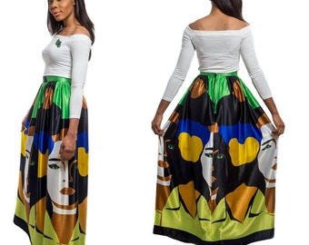 Trendy Faceprint Green multicolored maci skirt