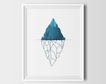 Iceberg wall art, printable wall art, instant download, modern minimalist, abstract art, geometric printables, blue, home decor