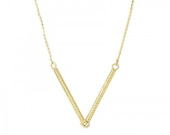 14K Yellow Gold Dangling V Necklace